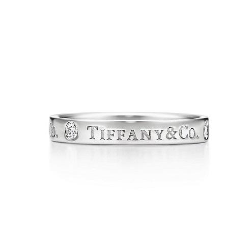 detailed look 1fc59 32a50 Tiffany & Co. フラット リング [PT、ダイヤモンド ...